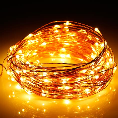 warm white 300 led 98 ft string fairy starry lights copper