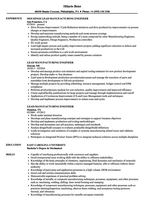 Manufacturing Engineer Resume by Lead Manufacturing Engineer Resume Sles Velvet