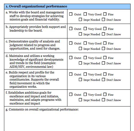 Executive Performance Review Template Executive Director Evaluation Survey Form Blue Avocado