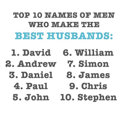 top 10 names top 10 names of who make the best husbands all 4