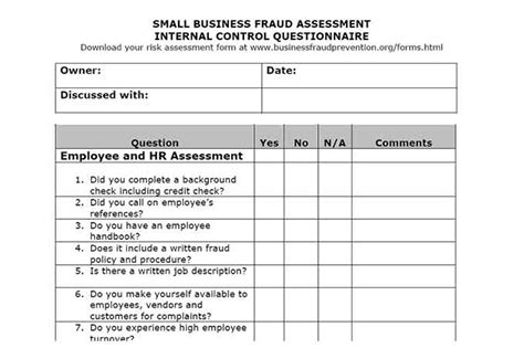 Auditor Forms Vitalics Small Business Risk Assessment Template