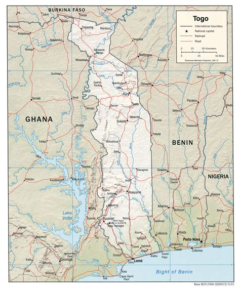 political map of togo detailed relief and political map of togo with roads and