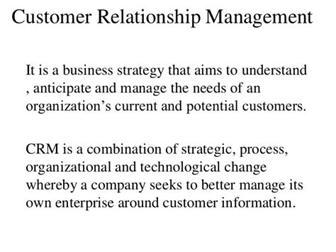 Crm Notes For Mba Students by Chapter 7 Customer Relationship Management