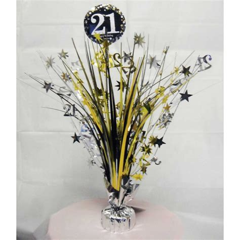 21st birthday centerpieces 21st birthday spray centrepiece table decoration black silver gold age 21 ebay