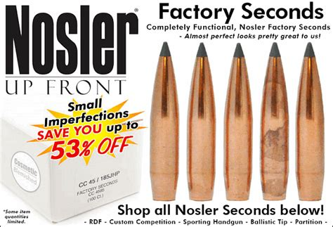 Nosler Factory Seconds Blemished Products | bullets brass ammo 171 daily bulletin