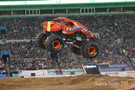 jacksonville monster truck jam crushstation and lumberjack flying high in jacksonville