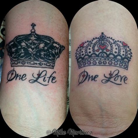 his and her couple tattoos mikemartineztattoo his and crown