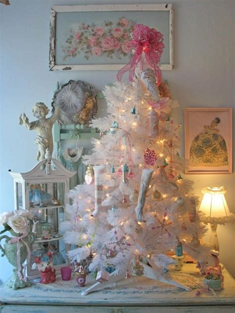 pretty white christmas tree decor shabby chic vintage