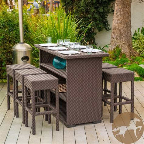 7 brown wicker bar patio set w bar stools