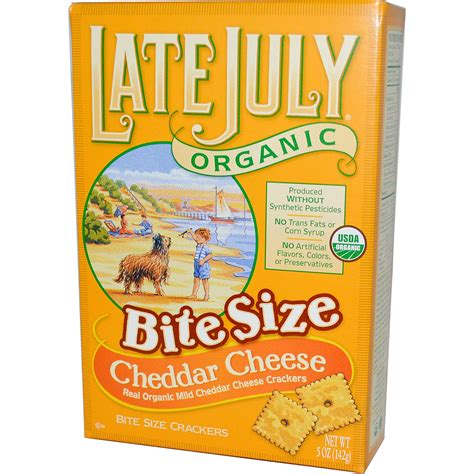 late july organic bite size crackers cheddar cheese 5