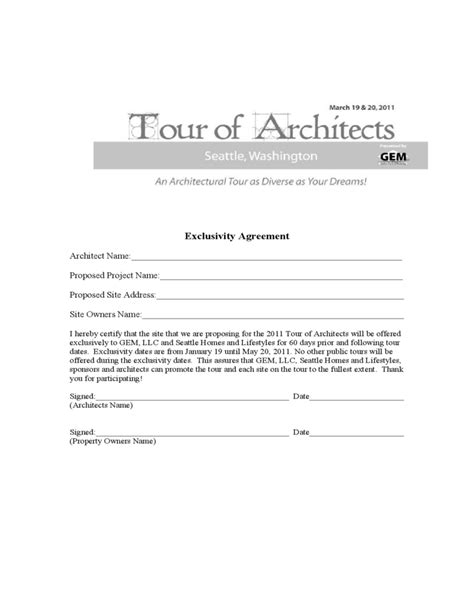 exclusivity agreement tour of architects free download