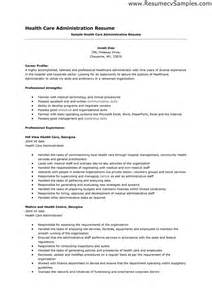 administration resume sle resume with masters in health administration sales