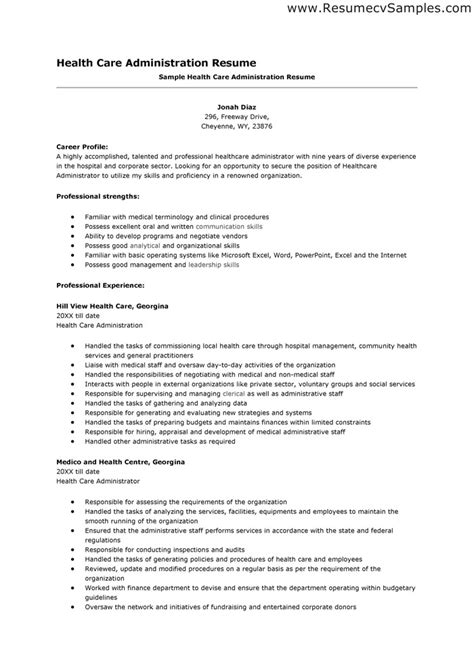 Healthcare Resume Exles by Healthcare Administration Sle Resume 2 Hospital Administrator Cover Letter Healthcare