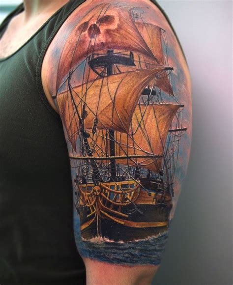 traditional pirate ship tattoo beautiful pirate ship traditional on right half sleeve