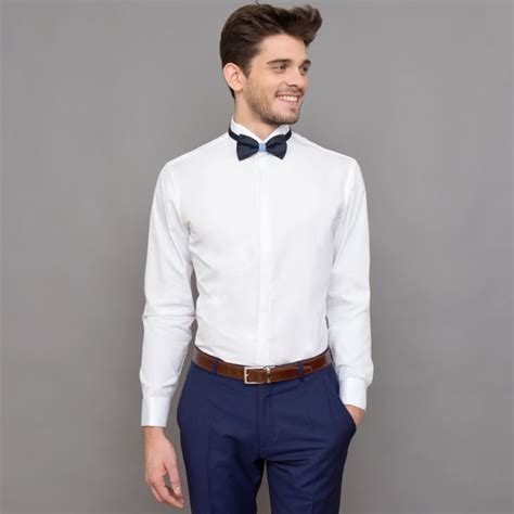 Bow Collar Shirt slim fit white wing collar bow tie collar shirt formal