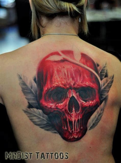 red skull tattoo on
