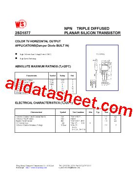 transistor horizontal d1877 d1877 datasheet pdf wing shing computer components