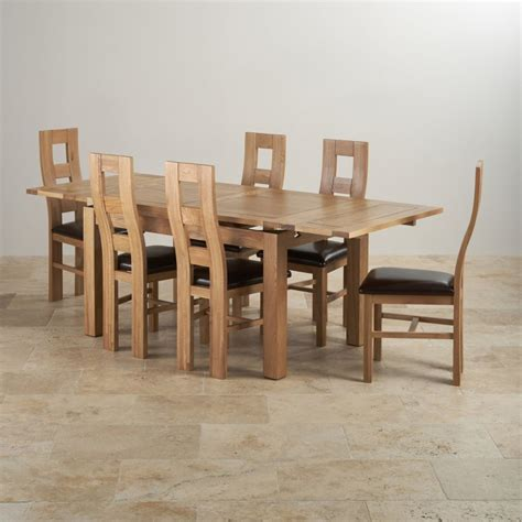 Solid Oak Extending Dining Table And Chairs Dorset Dining Set Extending Table In Oak 6 Leather Chairs