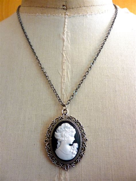 cameo pendants for jewelry portrait cameo pendant silver necklace by
