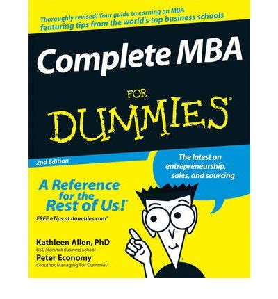 Mba Basics For Dummies complete mba for dummies allen 9780470194294