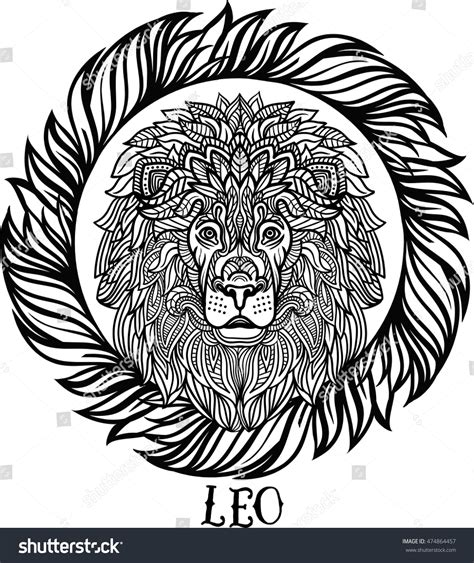 aztec lion tattoo detailed aztec filigree line stock vector