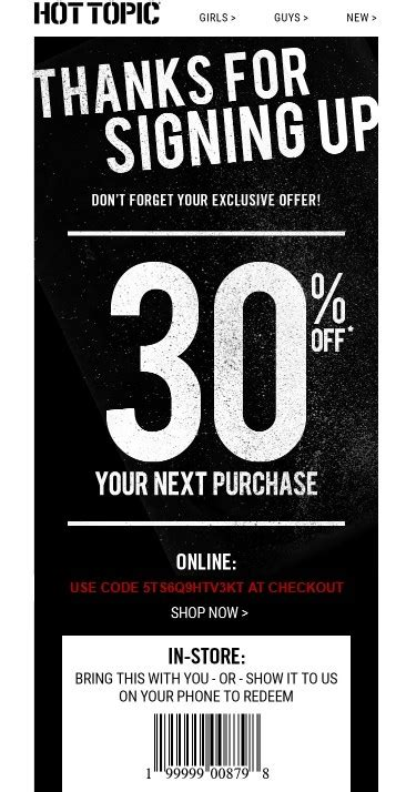 75% Off Hot Topic Coupon Code | Hot Topic 2018 Promo Codes