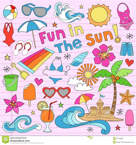 Elements Of My Vacation by Summer Vacation Doodles Vector Elements Stock Vector
