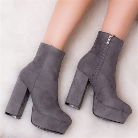 Platform Block Heel Ankle Boots vivacious grey ankle boots shoes from spylovebuy