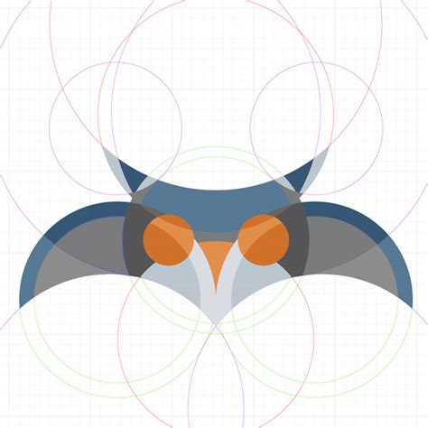 tutorial illustrator owl how to create an owl character using a circular grid in