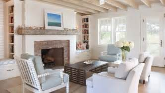 Shiplap Cottage Fireplace With Brick Surround And Chunky Mantle Cottage
