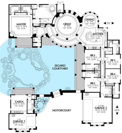 house plan rectangle with courtyard plan 16313md courtyard house plan with casita house plans bonus rooms and house