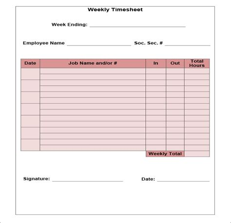 simple weekly time card template 60 sle timesheet templates pdf doc excel free
