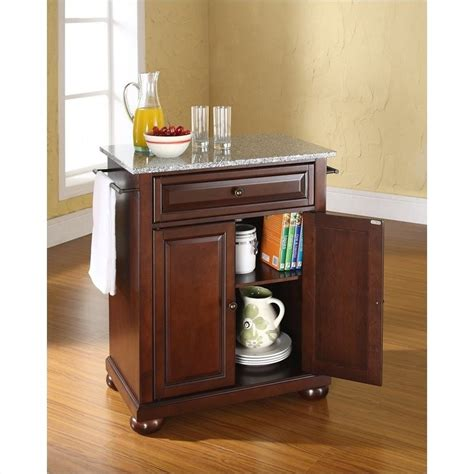 crosley furniture alexandria solid granite top mahogany kitchen island kf30023ama