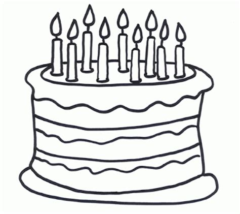 happy birthday cakes coloring pages birthday cake outline clipart best