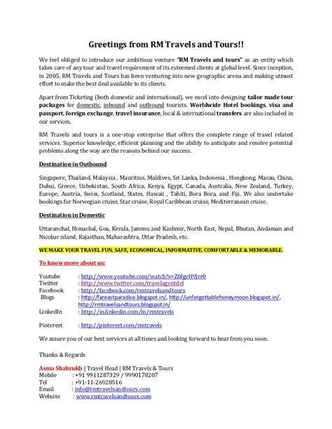 Letter Sle For Tour Package Introductory Letter Rm Travels And Tours
