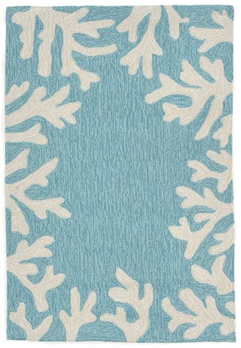 Coral Rugs by Trans 1620 04 Coral Bdr Aqua Area Rug