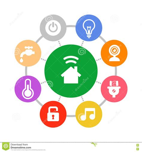 Economy House Plans by Smart Home System Icons Set Flat Design Style Stock Vector