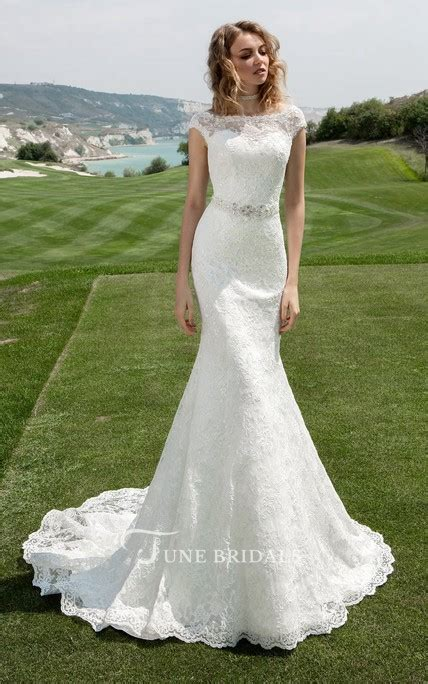bateau neck cap sleeve sheath wedding dress  beaded
