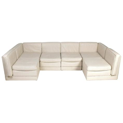 Low Sectional Sofa Low Slung Milo Baughman Sectional Sofa In Original Bone Color Leather At 1stdibs