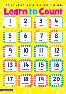printable number posters 1 20 woolly publishing children s wall charts