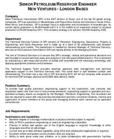 Senior Engineer Description by Petroleum Engineer Description Sle 6 Exles In Word Pdf