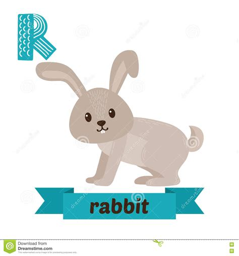 R Rabbit the letter r and a rabbit vector
