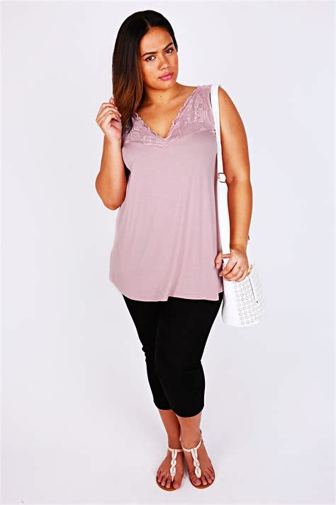 Sleeveless Lace Panel Top pale pink sleeveless top with lace panel detail plus size