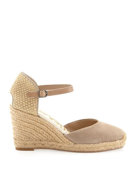 Hk Wedges Suede 2 sam edelman harmony suede espadrille wedge putty in beige