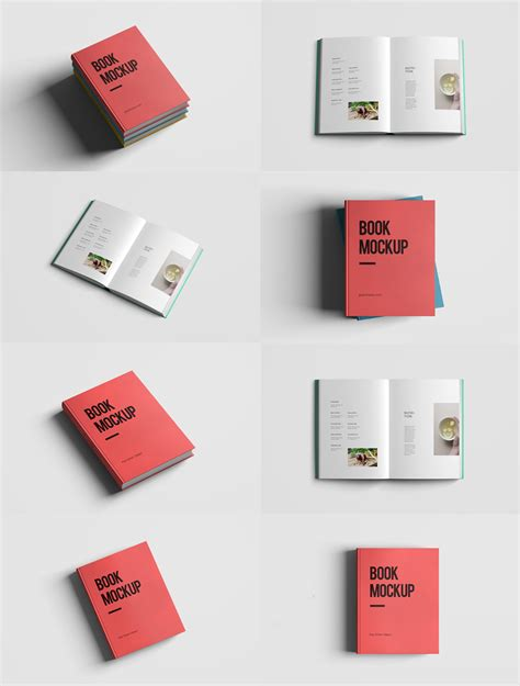 realistic book mockup template pack free psd download