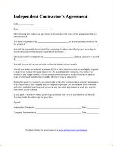 Independent Contractor Agreement Free Template independent contractor agreement gallery