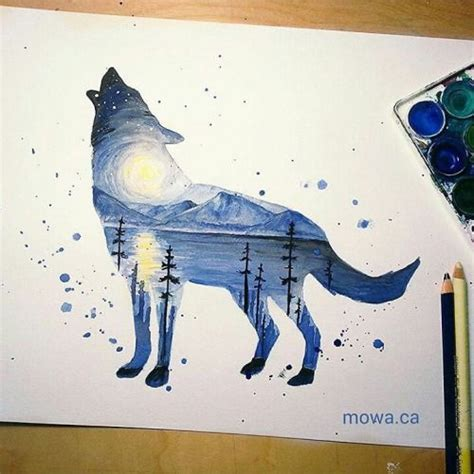 watercolor wolf tutorial watercolor double exposure by mowa 2 more wolf 1