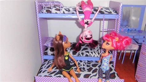 barbie doll bunk beds how to make a bunk bed for doll monster high barbie etc youtube