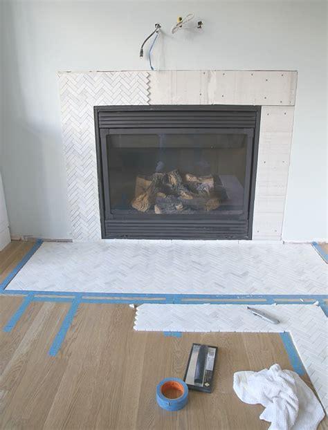 install  marble herringbone fireplace surround  hearth