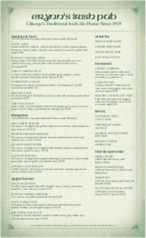 Customize 27 Celtic Menu Templates Musthavemenus Pub Menu Template